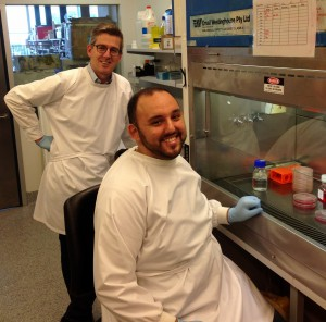 L-R: Mike Ryan and Luke Formosa at work in the Ryan lab.