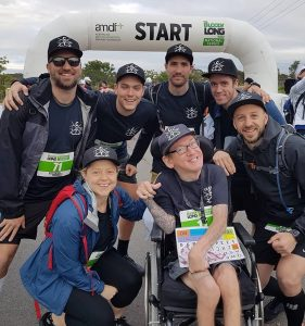 Tom and his friends finish the Bloody Long Walk in Newcastle